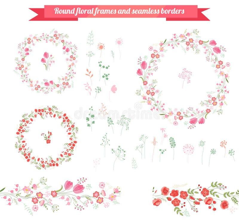 Floral στοιχεία άνοιξη με τις χαριτωμένες δέσμες των τουλιπών και των τριαντάφυλλων Ατελείωτες οριζόντιες βούρτσες σχεδίων ελεύθερη απεικόνιση δικαιώματος