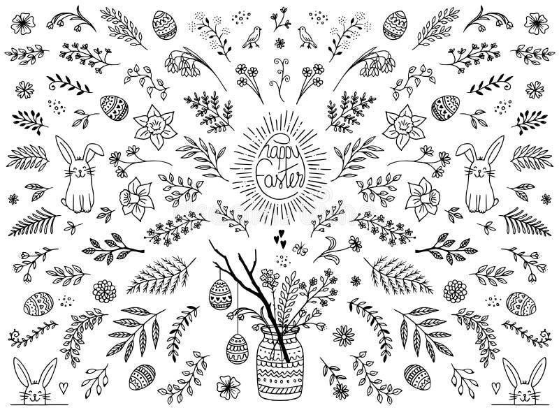 Floral στοιχεία σχεδίου για Πάσχα ελεύθερη απεικόνιση δικαιώματος