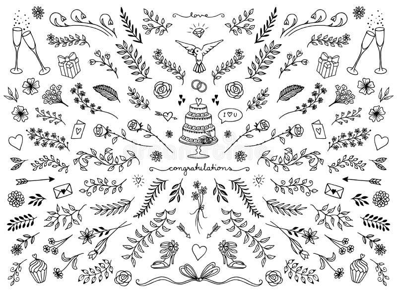 Floral στοιχεία σχεδίου για τις γαμήλιες κάρτες ελεύθερη απεικόνιση δικαιώματος