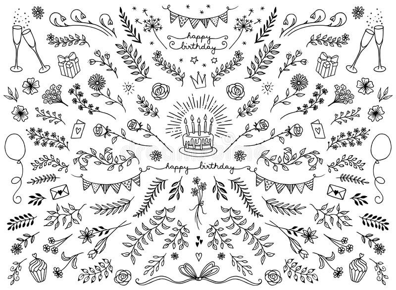Floral στοιχεία σχεδίου για τις κάρτες γενεθλίων ελεύθερη απεικόνιση δικαιώματος