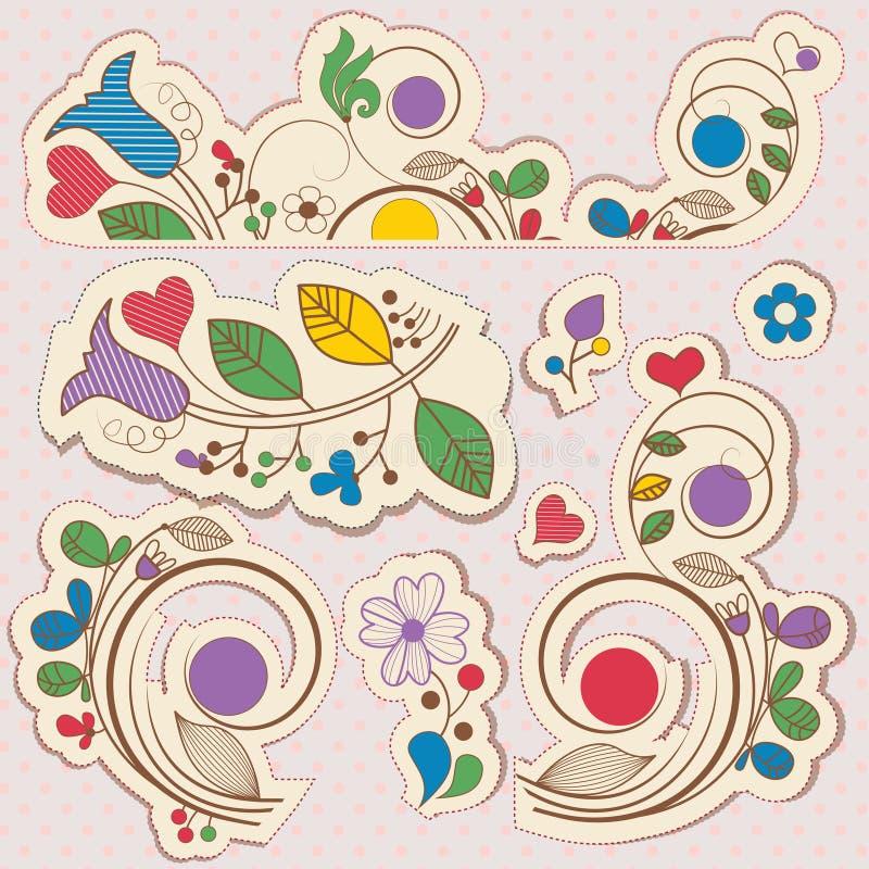 Floral στοιχεία σχεδίου λευκώματος αποκομμάτων απεικόνιση αποθεμάτων