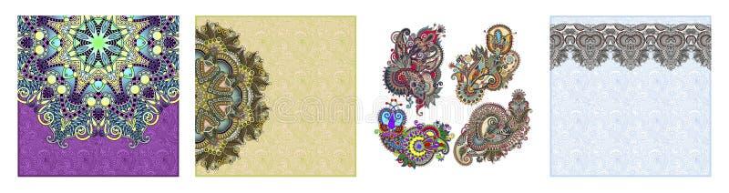 Floral στρογγυλό σχέδιο στο ουκρανικό ασιατικό εθνικό ύφος για τη ευχετήρια κάρτα σας διανυσματική απεικόνιση