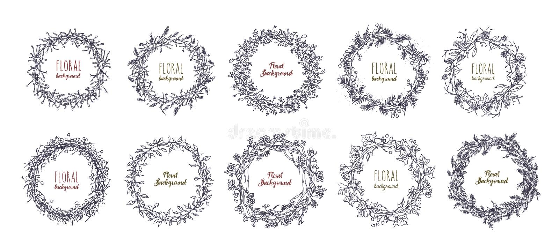 Floral στρογγυλά στεφάνια καθορισμένα συρμένα χέρι πλαίσια, διανυσματική συλλογή διανυσματική απεικόνιση