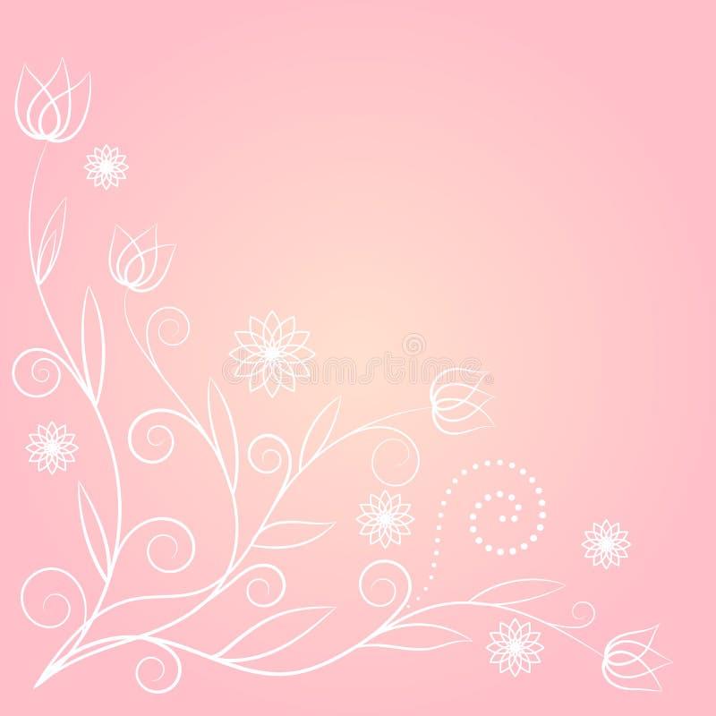 Floral στρόβιλος στο ρόδινο υπόβαθρο διανυσματική απεικόνιση