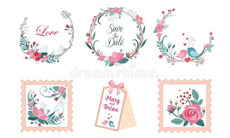 Floral συλλογή πλαισίων, γαμήλια πρόσκληση, εκτός από την κάρτα ημερομηνίας, το στεφάνι με τα ανθίζοντας λουλούδια και το διάνυσμ διανυσματική απεικόνιση