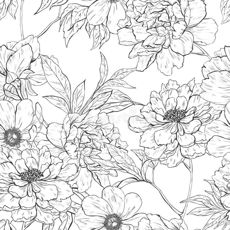 Floral συρμένο χέρι άνευ ραφής σχέδιο με τα λουλούδια ελεύθερη απεικόνιση δικαιώματος