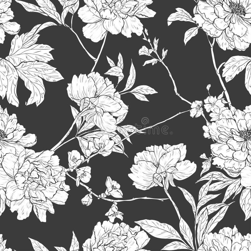 Floral συρμένο χέρι άνευ ραφής σχέδιο με τα λουλούδια διανυσματική απεικόνιση