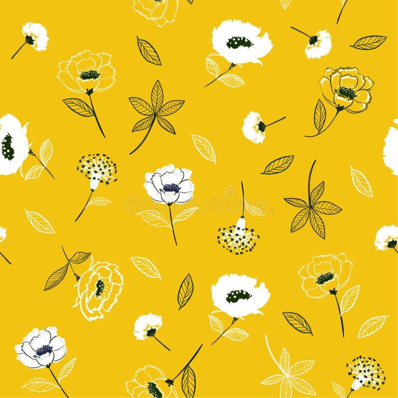 Floral σχέδιο ανθών στο ανθίζοντας βοτανικό άνευ ραφής vect ελεύθερη απεικόνιση δικαιώματος