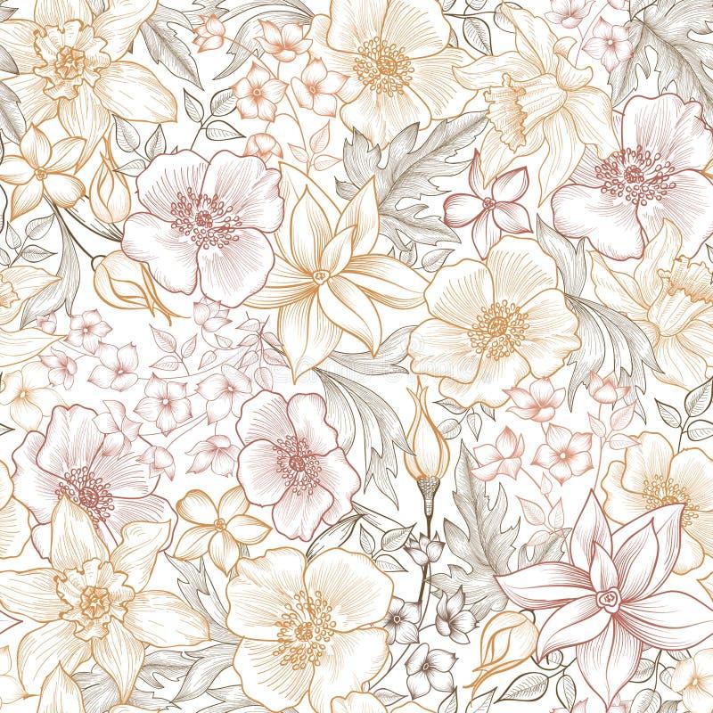 Floral σχέδιο κεραμιδιών φως λουλουδιών ανασκόπησης playnig Σύσταση κήπων στοκ φωτογραφίες