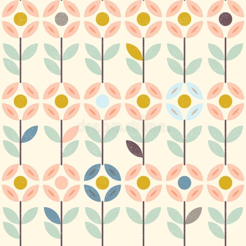Floral σχέδιο με τα αφηρημένα Σκανδιναβικά λουλούδια, λαϊκές διακοσμήσεις Άνευ ραφής ανασκόπηση Κίτρινος, γκρίζος, ροζ κρητιδογρα ελεύθερη απεικόνιση δικαιώματος