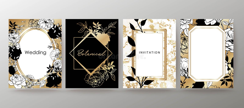 Floral σχέδιο πλαισίων Ρύθμιση γαμήλιας πρόσκλησης Βοτανική σύνθεση συρμένο χέρι λουλουδιών διανυσματική απεικόνιση