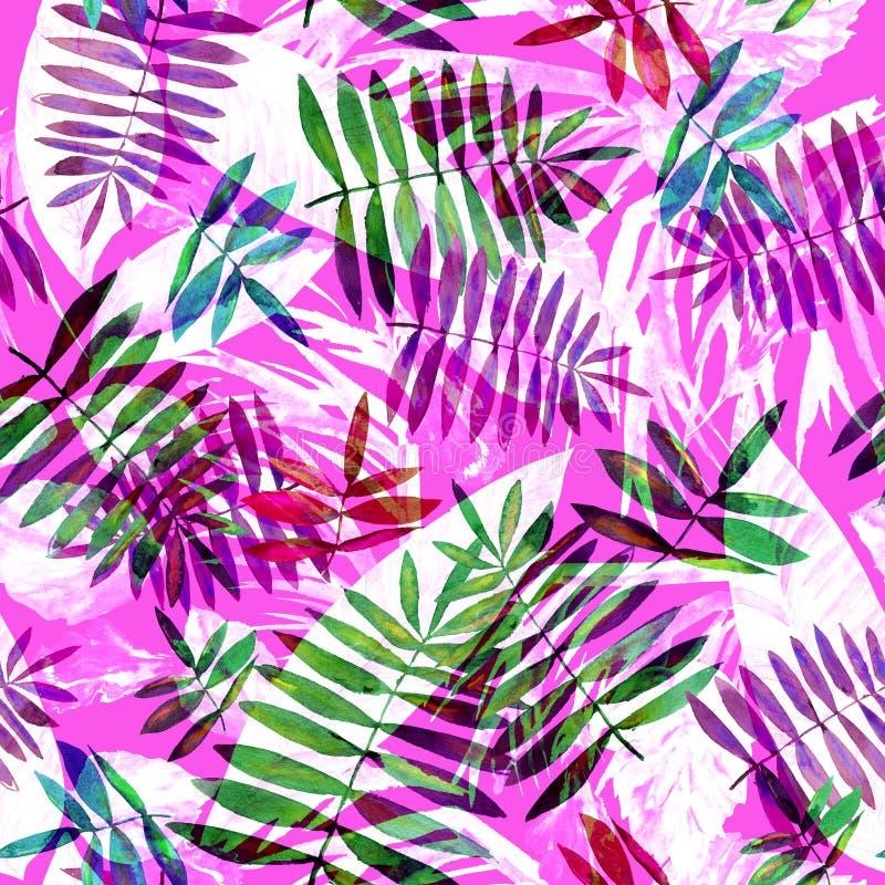 Floral σχέδιο φύλλων σε ένα ρόδινο υπόβαθρο Τα φύλλα Watercolour δίνουν το συρμένο σχέδιο ελεύθερη απεικόνιση δικαιώματος