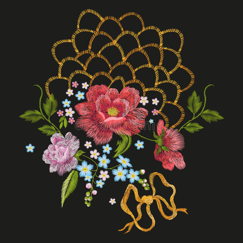 Floral σχέδιο κεντητικής με τα τριαντάφυλλα, forget-me-not λουλούδια απεικόνιση αποθεμάτων