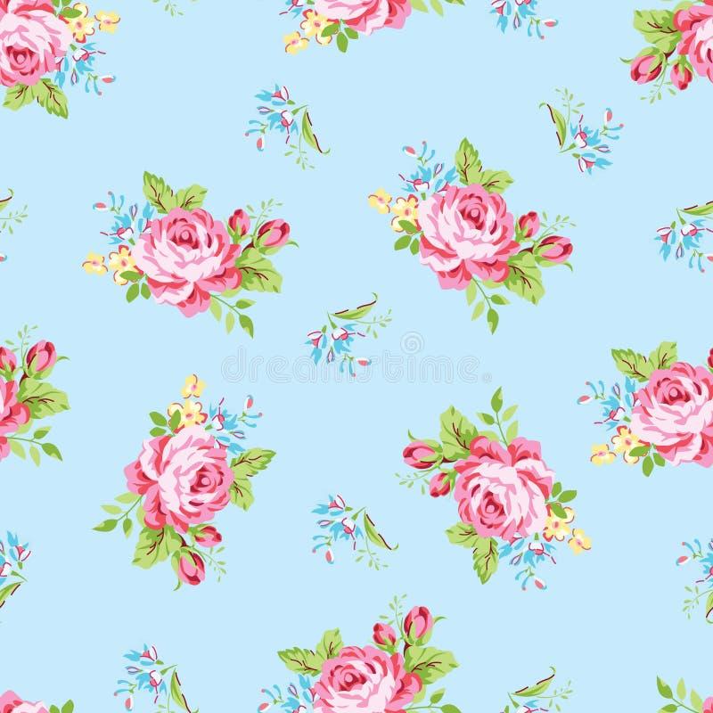 Floral σχέδιο με τα ρόδινα τριαντάφυλλα κήπων διανυσματική απεικόνιση