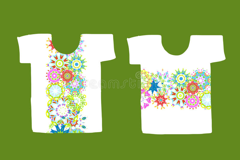 Floral σχέδιο στην άσπρη μπλούζα απεικόνιση αποθεμάτων