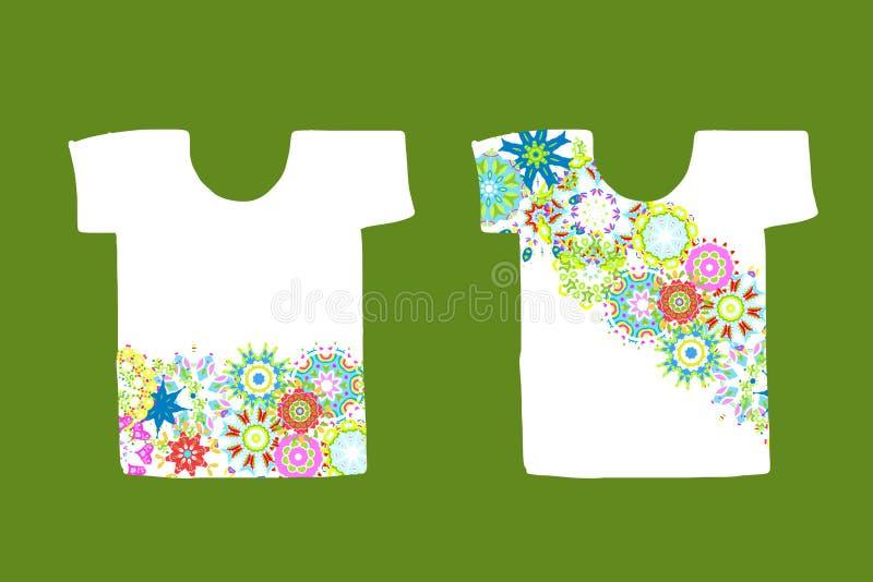 Floral σχέδιο στην άσπρη μπλούζα διανυσματική απεικόνιση