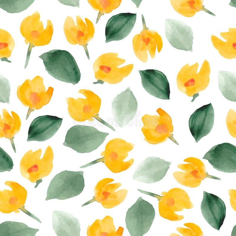 Floral σχέδιο watercolor Διανυσματική ανασκόπηση απεικόνιση αποθεμάτων