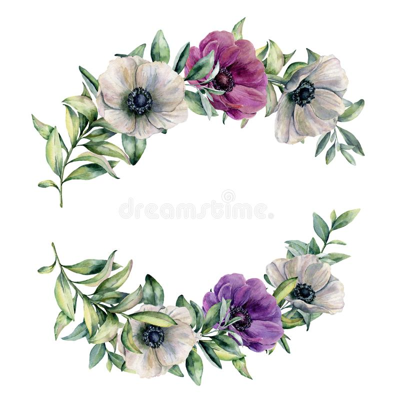 Floral σύνθεση Watercolor με το ζωηρόχρωμο anemone Το χέρι χρωμάτισε τα άσπρα, ιώδη, ρόδινα λουλούδια και τα φύλλα που απομονώθηκ απεικόνιση αποθεμάτων