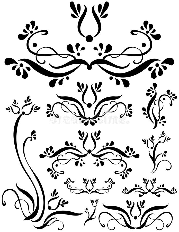 floral σύνολο κυλίνδρων ελεύθερη απεικόνιση δικαιώματος