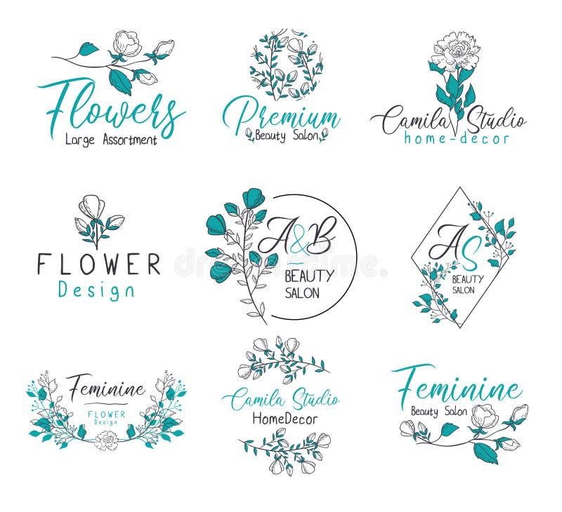 Floral σύνολο λογότυπων μονογραμμάτων αρμόδιων για το σχεδιασμό γεγονότος απεικόνιση αποθεμάτων