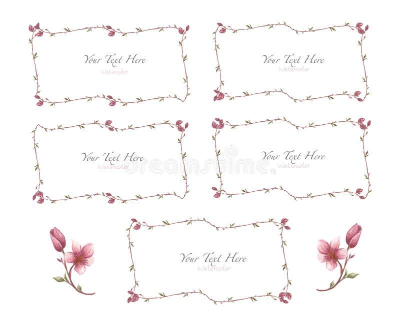 Floral σύνολο πλαισίων magnolia άνοιξη Στεφάνι λουλουδιών Magnolia ελεύθερη απεικόνιση δικαιώματος