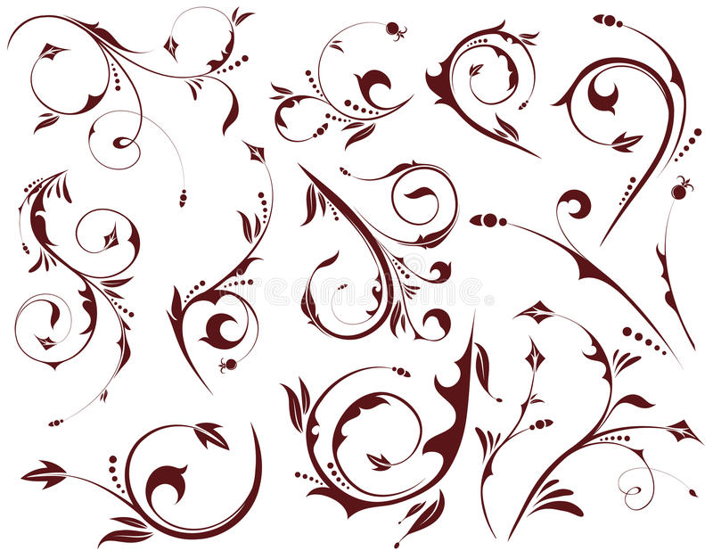 floral σύνολο στοιχείων απεικόνιση αποθεμάτων