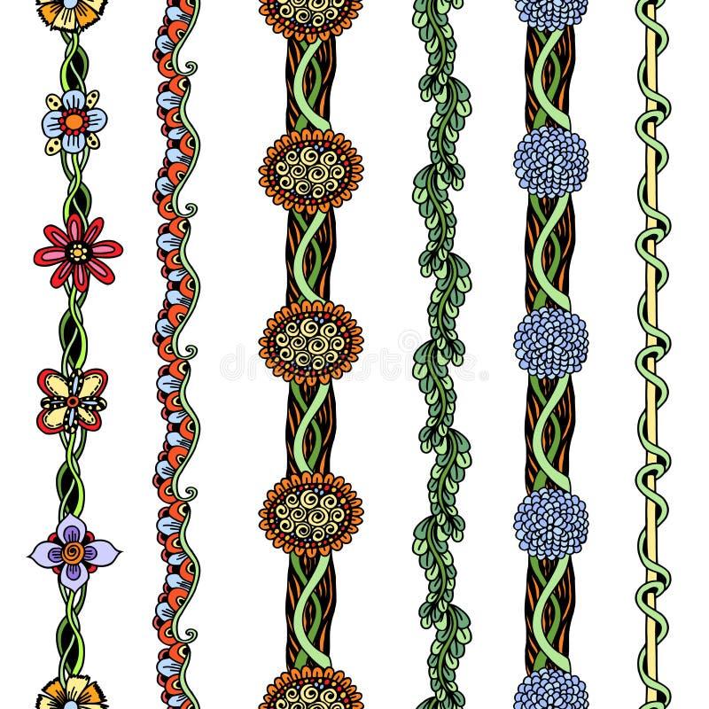 Floral σύνορα καθορισμένα απεικόνιση αποθεμάτων