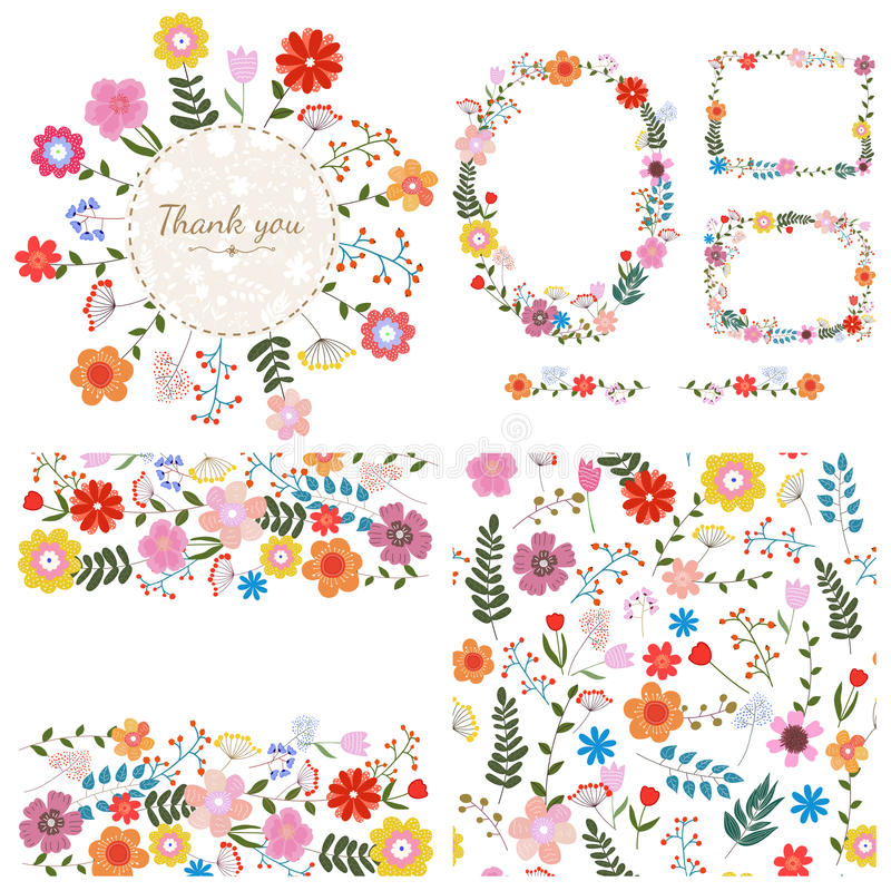 floral σύνολο ανασκοπήσεων Λουλούδια άνοιξης και καλοκαιριού διάνυσμα απεικόνιση αποθεμάτων