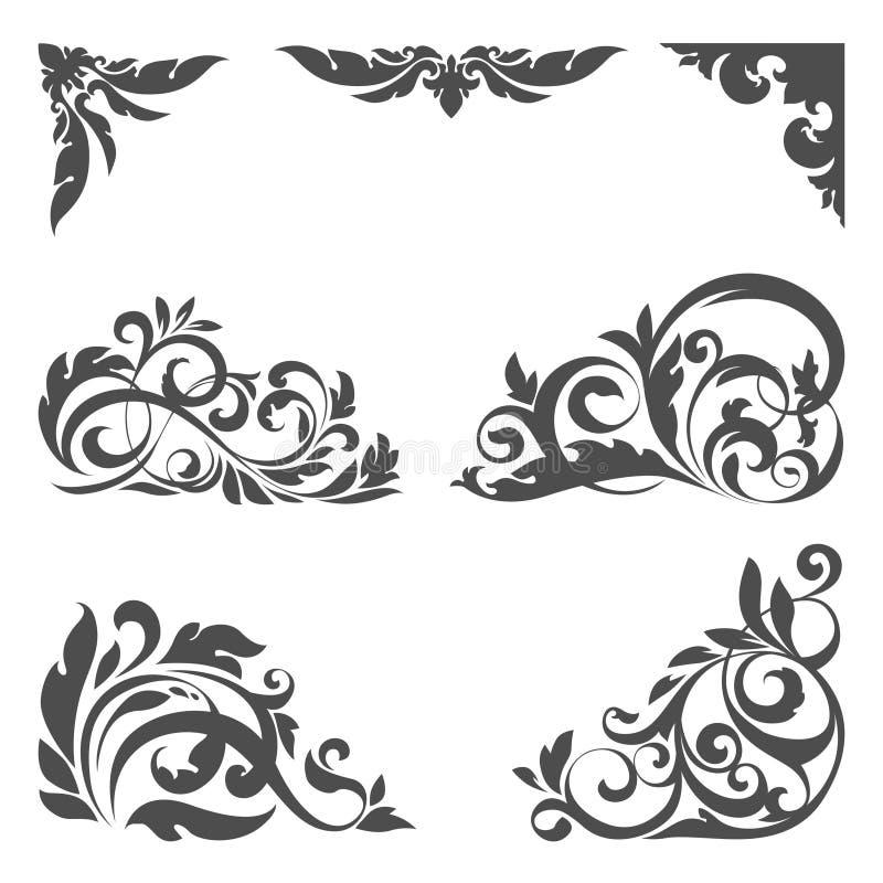 floral σύνολο στοιχείων σχεδί& απεικόνιση αποθεμάτων