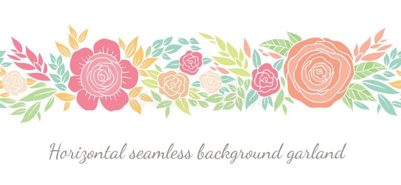 Floral σύντομα χρονογραφήματα ή σύνορα ελεύθερη απεικόνιση δικαιώματος