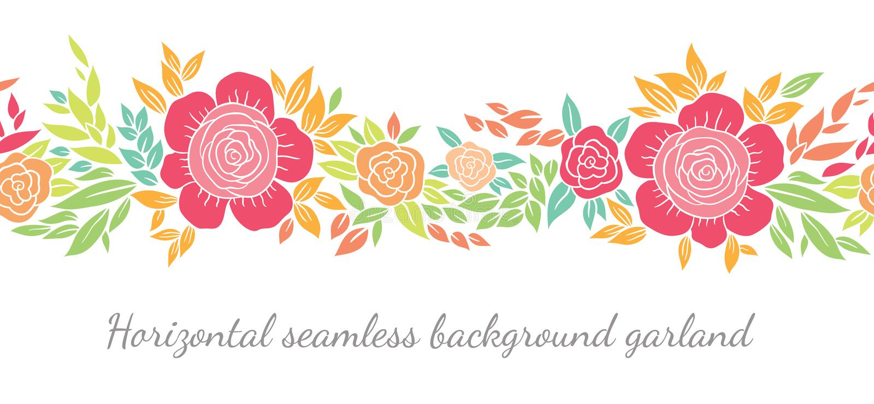 Floral σύντομα χρονογραφήματα ή σύνορα διανυσματική απεικόνιση
