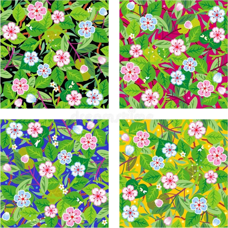 floral τέσσερα πρότυπα άνευ ραφή&si απεικόνιση αποθεμάτων