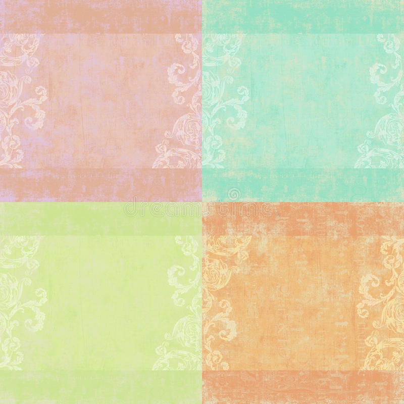 floral τέσσερα σύνολο shabby ανασκ&om απεικόνιση αποθεμάτων