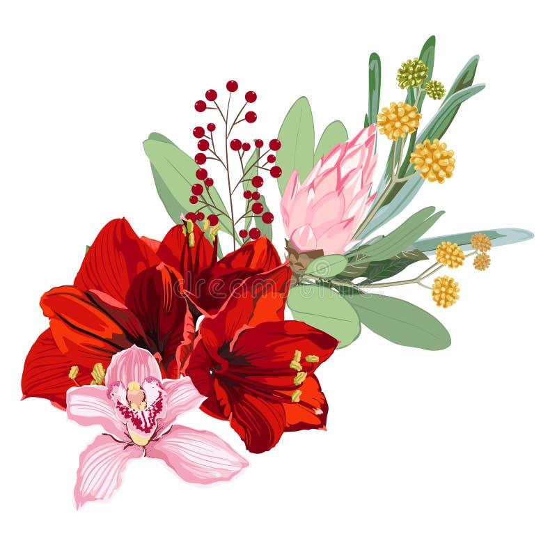 Floral τροπικά απεικόνιση, φύλλο και λουλούδια Βοτανική σύνθεση για το γάμο, ευχετήρια κάρτα απεικόνιση αποθεμάτων