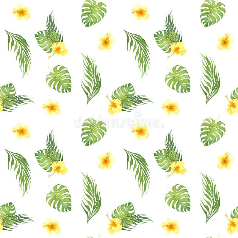 Floral τροπικό άνευ ραφής σχέδιο Watercolor με τα πράσινα φύλλα monstera και τα κίτρινα hibiscus λουλούδια διανυσματική απεικόνιση