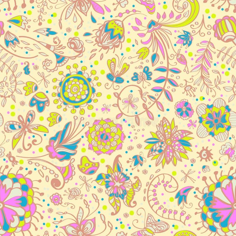 Floral τρυφερό άνευ ραφής πρότυπο χρώματος ελεύθερη απεικόνιση δικαιώματος