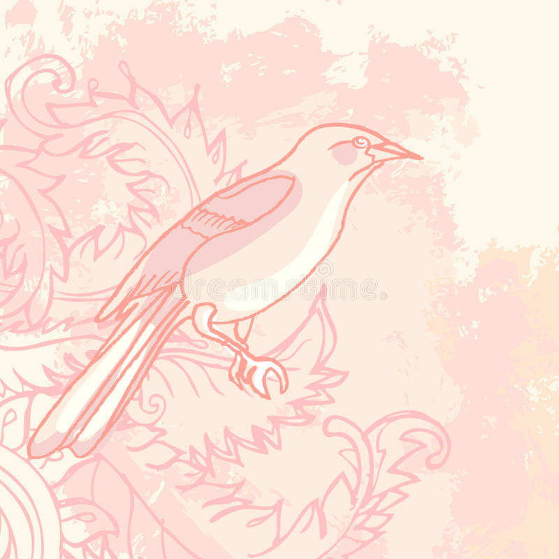 floral τρύγος grunge πουλιών ανασκόπ& διανυσματική απεικόνιση