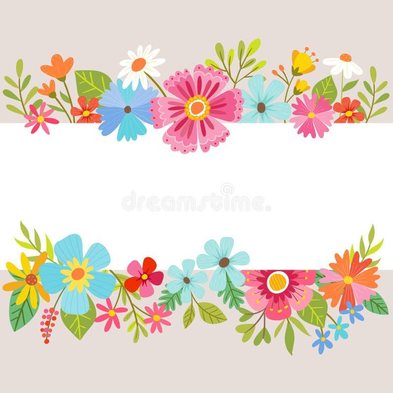 Floral υπόβαθρο άνοιξη με τα λουλούδια κινούμενων σχεδίων απεικόνιση αποθεμάτων