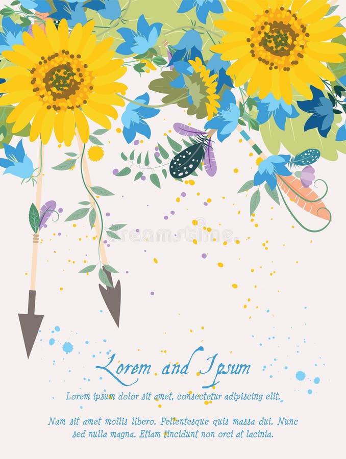 Floral υπόβαθρο ηλίανθων απεικόνισης χαιρετώντας hand-drawn διανυσματική απεικόνιση