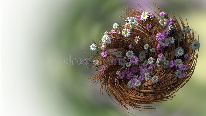 Floral υπόβαθρο διακοπών με τα λουλούδια και τις εγκαταστάσεις στοκ εικόνα με δικαίωμα ελεύθερης χρήσης