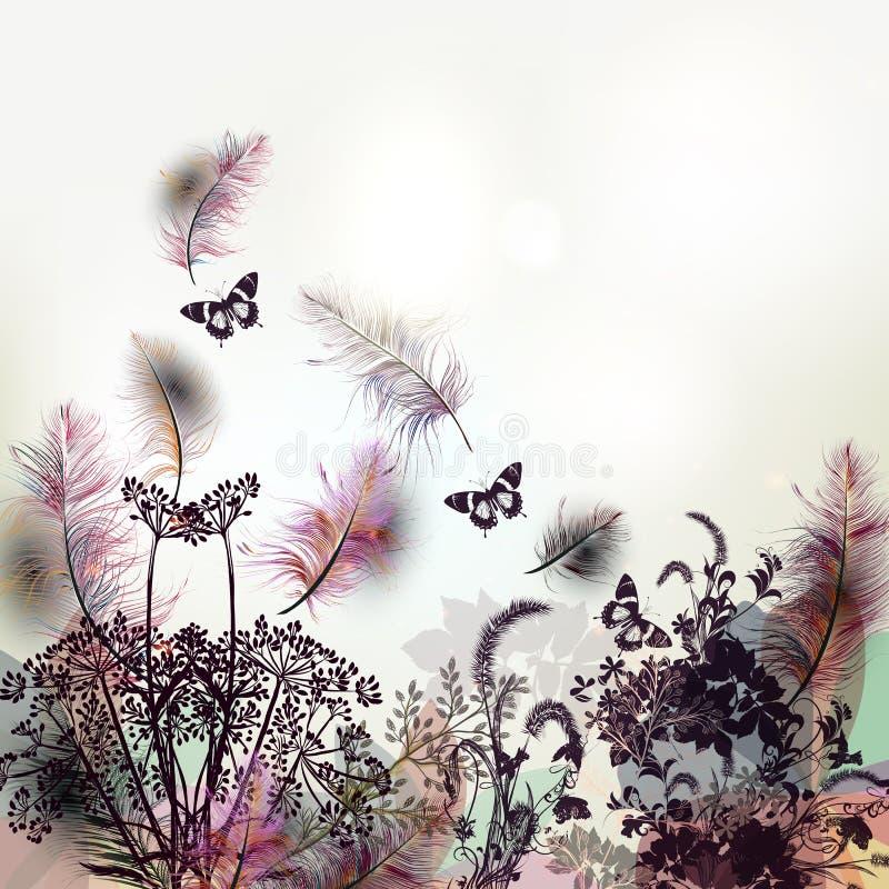 Floral υπόβαθρο με τα διανυσματικές φτερά και τις εγκαταστάσεις διανυσματική απεικόνιση