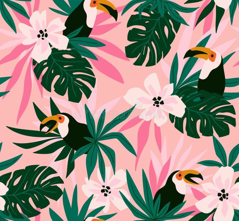 Floral υπόβαθρο με τα τροπικά λουλούδια, φύλλα και toucans Διανυσματικό άνευ ραφής σχέδιο για το σχέδιο υφάσματος ελεύθερη απεικόνιση δικαιώματος