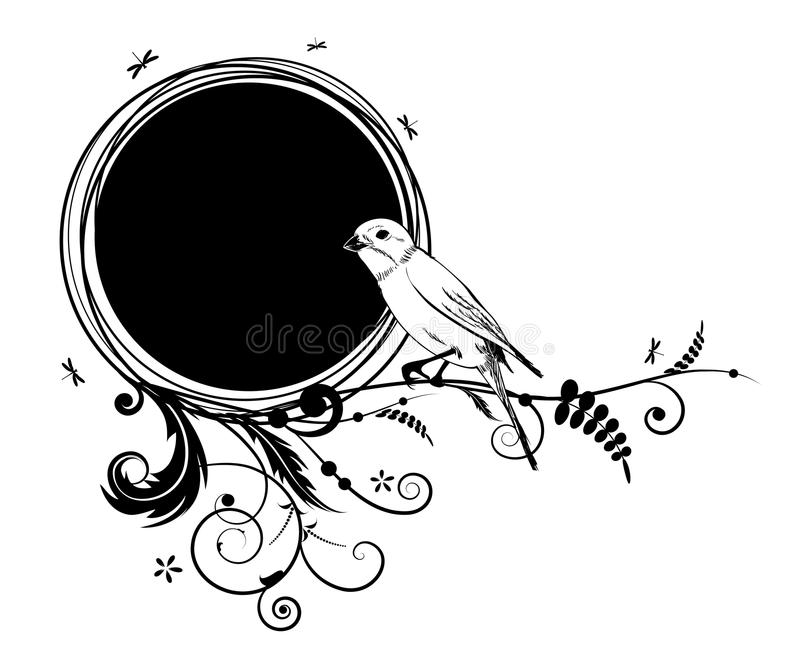 Floral υπόβαθρο με το πουλί και τις λιβελλούλες απεικόνιση αποθεμάτων