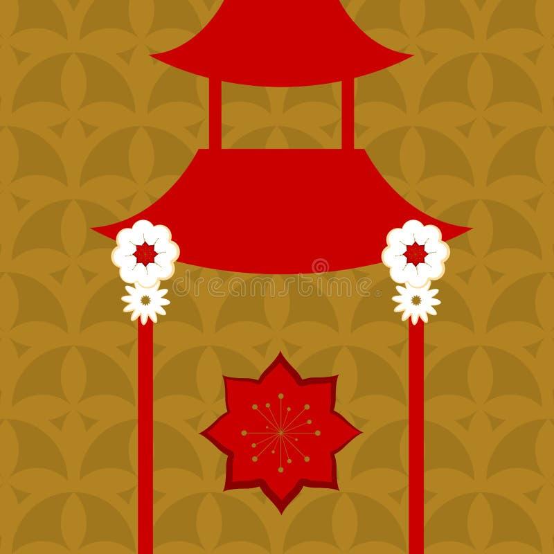Floral υπόβαθρο σχεδίων με έναν ιαπωνικό ναό απεικόνιση αποθεμάτων
