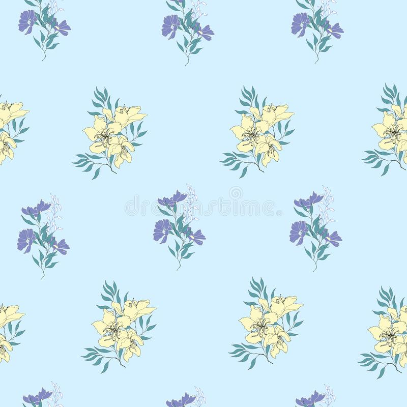 Floral υπόβαθρο των λεπτών κίτρινων και πορφυρών λουλουδιών Εκλεκτής ποιότητας ελαφριά σύσταση για τις κάρτες, κεραμίδια, προσκλή διανυσματική απεικόνιση