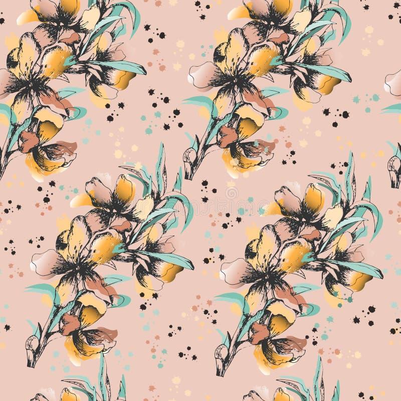 Floral υπόβαθρο των λεπτών λουλουδιών watercolor Για το σχέδιο των ευχετήριων καρτών, κεραμίδια, κλινοστρωμνή, προσκλήσεις, χαιρε απεικόνιση αποθεμάτων
