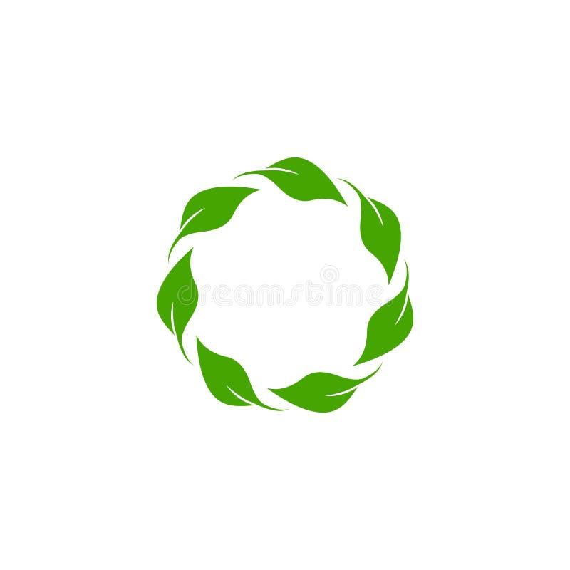Στρογγυλό στεφάνι με τα πράσινα φύλλα Floral φρέσκια παράθυρο ή ετικέτα κειμένου Θερινό πλαίσιο ελεύθερη απεικόνιση δικαιώματος