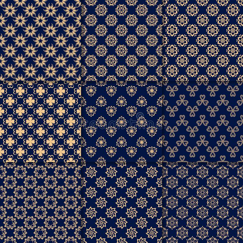Floral χρυσά μπλε άνευ ραφής σχέδια Υπόβαθρα με τα στοιχεία fower για τις ταπετσαρίες απεικόνιση αποθεμάτων
