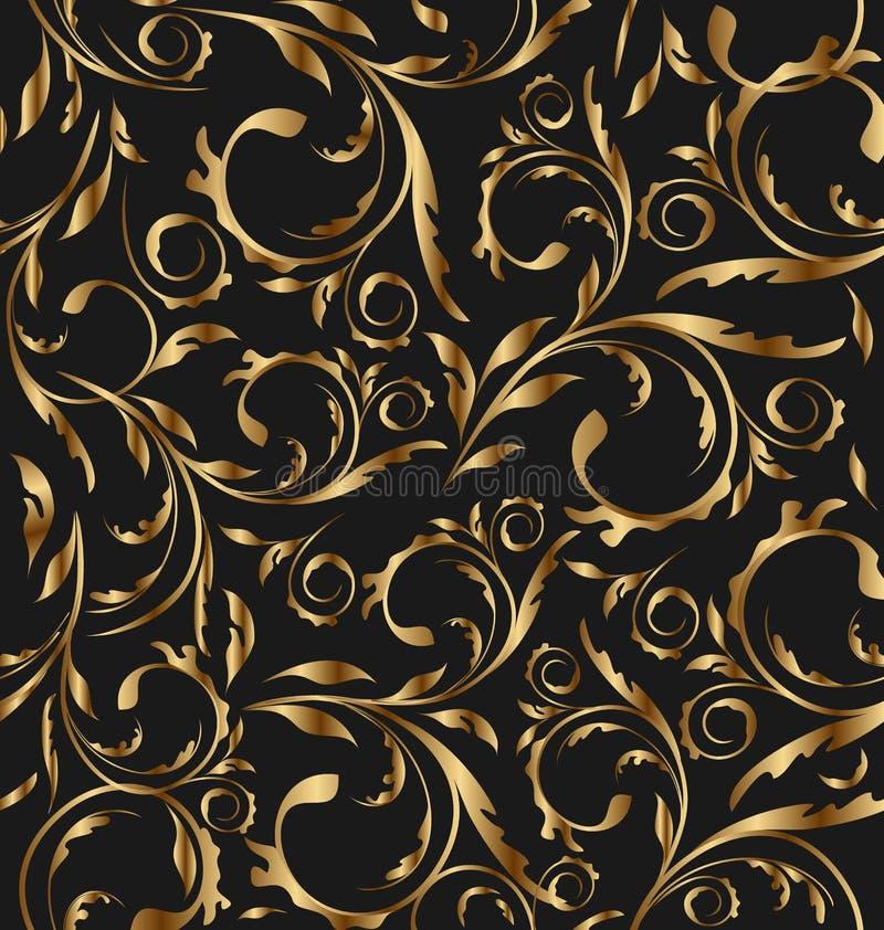 floral χρυσός άνευ ραφής ανασκόπησης απεικόνιση αποθεμάτων