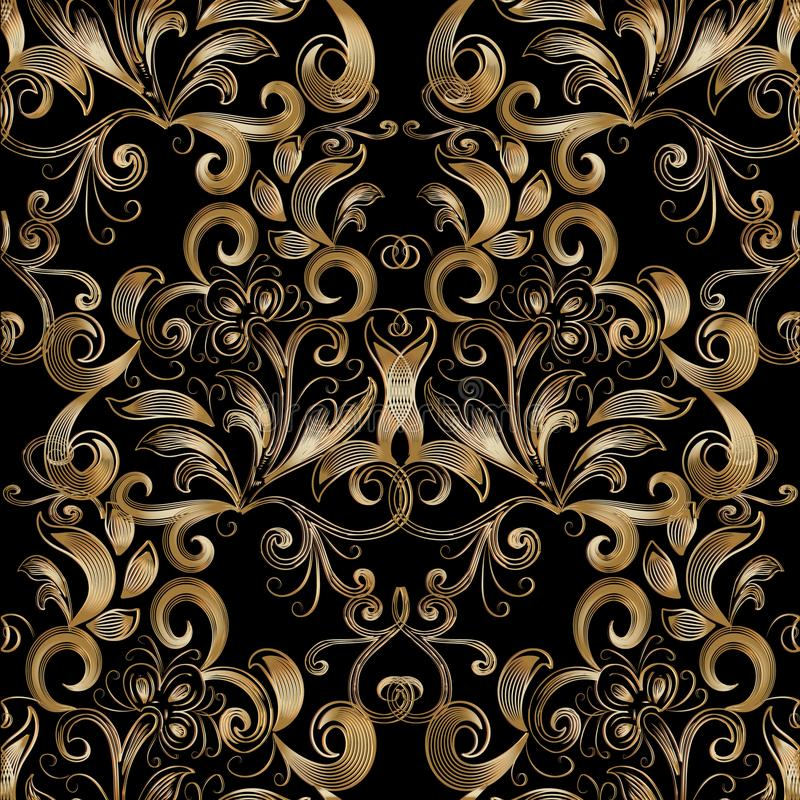 floral χρυσός άνευ ραφής τρύγος προτύπων Διανυσματικά μαύρα WI υποβάθρου ελεύθερη απεικόνιση δικαιώματος